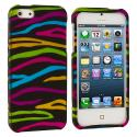 Apple iPhone 5 Rainbow Zebra on Black Hard Rubberized Design Case Cover Angle 1