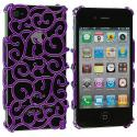 Apple iPhone 4 / 4S Purple Floral Crystal Hard Back Cover Case Angle 1
