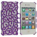 Apple iPhone 4 / 4S Purple Floral Crystal Hard Back Cover Case Angle 2