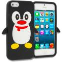 Apple iPhone 5/5S/SE Black Penguin Silicone Design Soft Skin Case Cover Angle 1