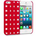 Apple iPhone 5/5S/SE Red Handwoven Hard Rubberized Back Cover Case Angle 1