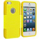 Apple iPhone 5/5S/SE Yellow / Yellow Hybrid Mesh Hard/Soft Case Cover Angle 1