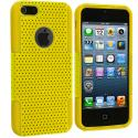 Apple iPhone 5/5S/SE Yellow / Yellow Hybrid Mesh Hard/Soft Case Cover Angle 2