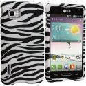 LG Optimus F3 Sprint Black/White Zebra Hard Rubberized Design Case Cover Angle 1