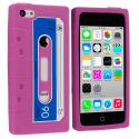 Apple iPhone 5C Hot Pink Cassette Silicone Soft Skin Case Cover Angle 1
