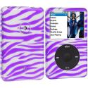 Apple iPod Classic Purple Zebra Hard Rubberized Design Case Cover Angle 1