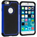 Apple iPhone 6 6S (4.7) Black / Blue Hybrid Rugged Hard/Soft Case Cover Angle 1