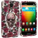 LG Lucid 3 VS876 Gorgeous Skull Hard Rubberized Design Case Cover Angle 1