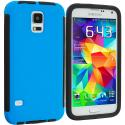 Samsung Galaxy S5 Black / Blue Hybrid Hard TPU Shockproof Case Cover With Built in Screen Protector Angle 1