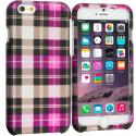 Apple iPhone 6 Plus Hot Pink Checkered 2D Hard Rubberized Design Case Cover Angle 1