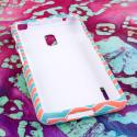 LG Optimus F7 - Mint Chevron MPERO SNAPZ - Rubberized Case Cover Angle 2