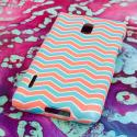 LG Optimus F7 - Mint Chevron MPERO SNAPZ - Rubberized Case Cover Angle 3