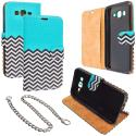 Samsung Galaxy J7 Mint Green Zebra Design Wallet Flip Pouch Case Cover with Credit Card ID Slots Angle 1