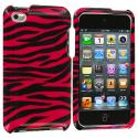 Apple iPod Touch 4th Generation Black / Hot Pink Zebra Design Crystal Hard Case Cover Angle 1