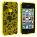 Apple iPhone 4 / 4S Yellow Dog Paw TPU Rubber Skin Case Cover Angle 1