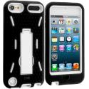 Apple iPod Touch 5th 6th Generation Black / White Hybrid Heavy Duty Hard/Soft Case Cover with Stand Angle 2