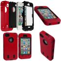 Apple iPhone 4 / 4S Red / Black + Protector Hybrid Deluxe Hard/Soft Case Cover Angle 1