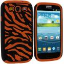 Samsung Galaxy S3 Black / Orange Hybrid Zebra Hard/Soft Case Cover Angle 1