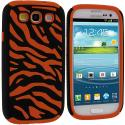 Samsung Galaxy S3 Black / Orange Hybrid Zebra Hard/Soft Case Cover Angle 2