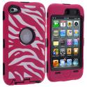 Apple iPod Touch 4th Generation Black / Hot Pink Zebra Hybrid Deluxe Hard/Soft Case Cover Angle 1