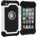 Apple iPod Touch 4th Generation White Hybrid Rugged Hard/Soft Case Cover Angle 1