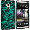 HTC One Max Black/Baby Blue Zebra Hard Rubberized Design Case Cover Angle 1