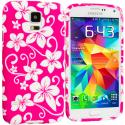 Samsung Galaxy S5 Pink Hawaii Flower TPU Design Soft Case Cover Angle 1