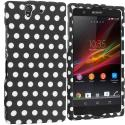 Sony Xperia Z Black / White Polka Dot Hard Rubberized Design Case Cover Angle 1