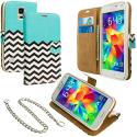 Samsung Galaxy S5 Mint Green Zebra Leather Wallet Pouch Case Cover with Slots Angle 1