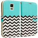Samsung Galaxy S5 Mint Green Zebra Leather Wallet Pouch Case Cover with Slots Angle 2