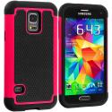 Samsung Galaxy S5 Mini G800 Black / Hot Pink Hybrid Rugged Grip Shockproof Case Cover Angle 1
