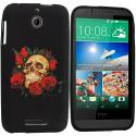 HTC Desire 510 Red Rose Skull TPU Design Soft Rubber Case Cover Angle 1