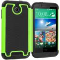 HTC Desire 510 Black / Neon Green Hybrid Rugged Grip Shockproof Case Cover Angle 1