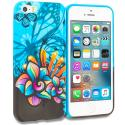Apple iPhone 5/5S/SE Butterfly Flower on Blue TPU Design Soft Rubber Case Cover Angle 1