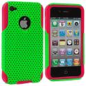 Apple iPhone 4 Red / Neon Green Hybrid Mesh Hard/Soft Case Cover Angle 1