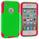 Apple iPhone 4 / 4S Red / Neon Green Hybrid Mesh Hard/Soft Case Cover Angle 2