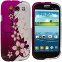 Samsung Galaxy S3 Purple Vine Flower Design Crystal Hard Case Cover Angle 2