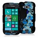 Samsung ATIV Odyssey Blue Flowers Hard Rubberized Design Case Cover Angle 1