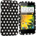 ZTE Majesty Z796C Black / White Polka Dot Hard Rubberized Design Case Cover Angle 1