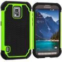 Samsung Galaxy S5 Active Black / Neon Green Hybrid Rugged Hard/Soft Case Cover Angle 1