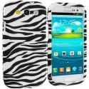 Samsung Galaxy S3 Black/White Zebra Hard Rubberized Design Case Cover Angle 1