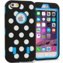 Apple iPhone 6 6S (4.7) Baby Blue Polka Dot Hybrid Deluxe Hard/Soft Case Cover Angle 1