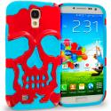 Samsung Galaxy S4 Baby blue / Red Hybrid Skull Hard/Soft Case Cover Angle 1