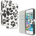 Apple iPhone 5/5S/SE Dog Paw Design Wallet Flip Pouch Case Cover with Credit Card ID Slots Angle 1