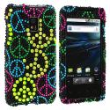 LG Optimus G2X P990 Colorful Peace Sign Bling Rhinestone Case Cover Angle 1