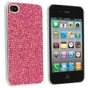 Apple iPhone 4 / 4S Pink Glitter Case Cover Angle 1