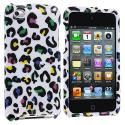 Apple iPod Touch 4th Generation Colorful Leopard on White Design Crystal Hard Case Cover Angle 1