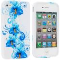 Apple iPhone 4 / 4S Blue Flower TPU Design Soft Case Cover Angle 1