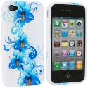 Apple iPhone 4 / 4S Blue Flower TPU Design Soft Case Cover Angle 2