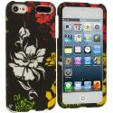 Apple iPod Touch 5th 6th Generation Flower in Black Hard Rubberized Design Case Cover Angle 1